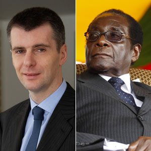 Mikhail Prokhorov, left, is being challenged by a U.S. official over whether one of his companies was funding Zimbabwe President Robert Mugabe, right. Photo from the New York Post.