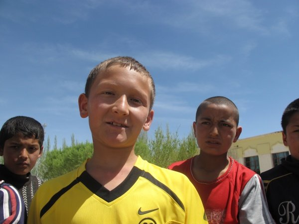 Uyghur Soccer Boys at an elementary school near Kashgar