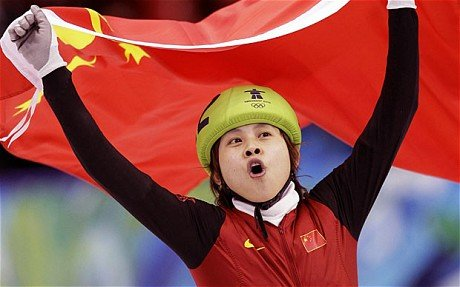 Wang Meng celebrating another victory on the short track