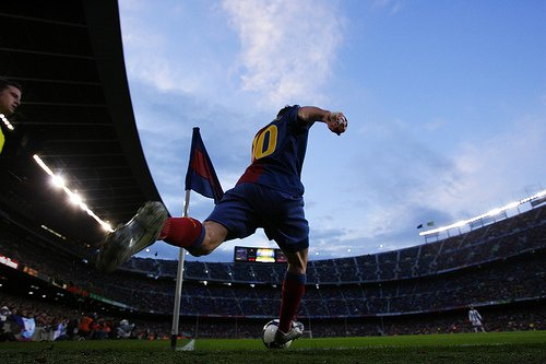 Lionel Messi of FC Barcelona during the La Liga match between Barcelona and Recreativo Huelva
